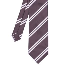 calabrese 1924 cravatta marrone righe bianche