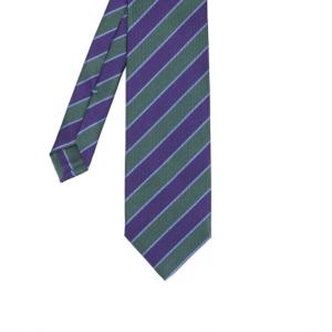 calabrese 1924 cravatta verde righe viola bianche