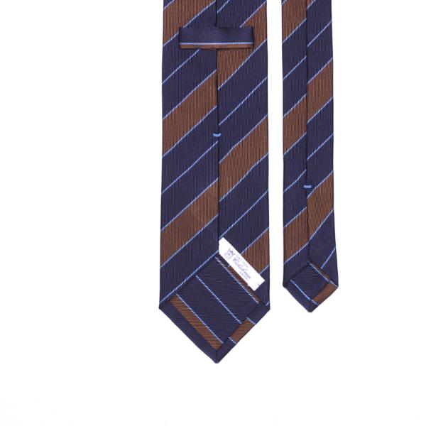 calabrese 1924 cravatta blue righe marrone bianche