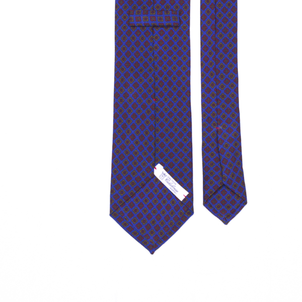 calabrese 1924 cravatta viola fantasia esagoni rossi esagoni gialli piccoli