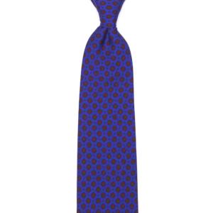 calabrese 1924 cravatta viola fantasia fiori rossi punti rossi piccoli