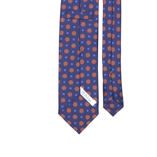 calabrese 1924 cravatta blue fantasia fiori rossi e quadrati blue medio