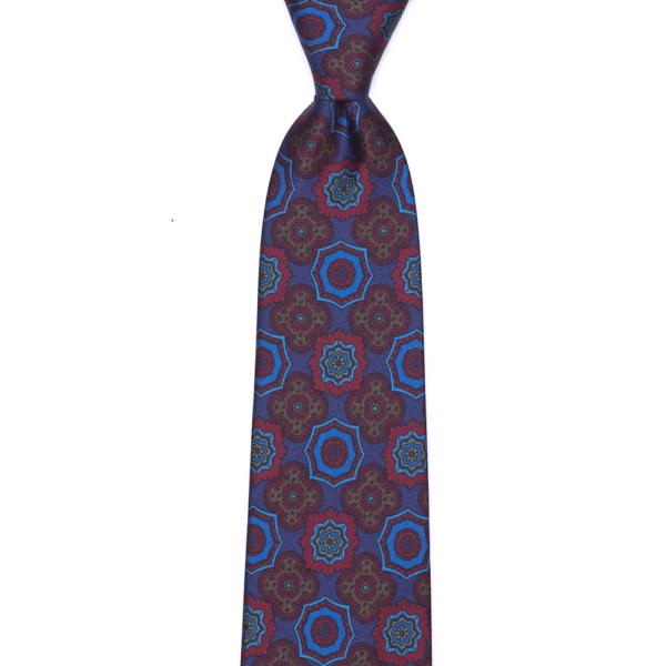 calabrese 1924 cravatta blue fantasia fiori rossi e fiori blue grandi