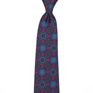 calabrese 1924 cravatta rossa fantasia fiori blue fiori verdi fiori marrone grandi