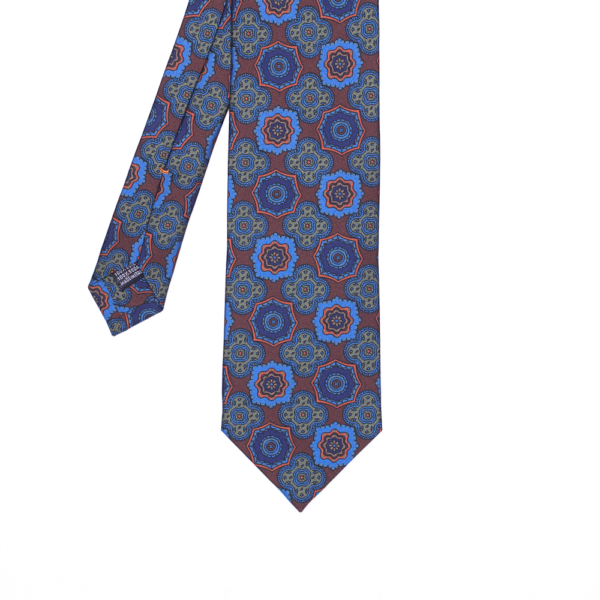 calabrese 1924 cravatta bordò fantasia fiori blue fiori verdi dettagli arancioni beige grandi