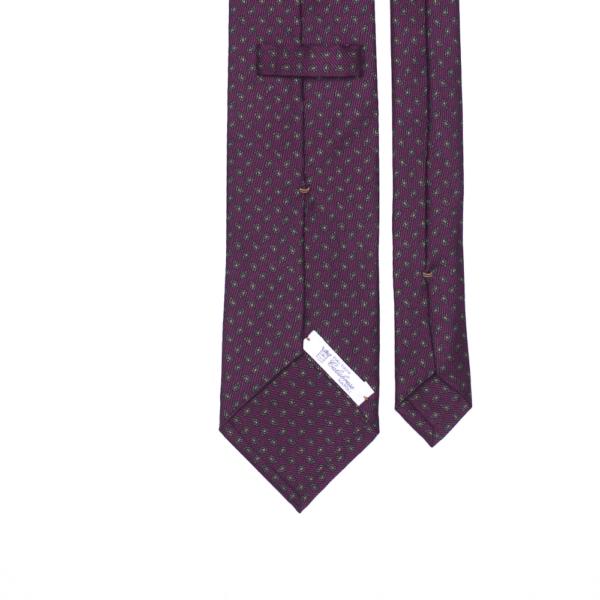 calabrese 1924 cravatta bordò fantasia goccia verde scuro dettagli arancio piccoli