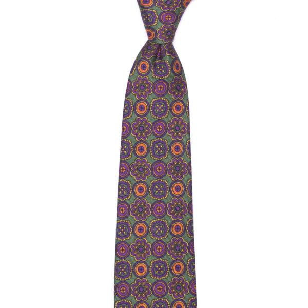 calabrese 1924 cravatta verde fantasia fiori viola fiori arancio dettagli gialli verde grandi