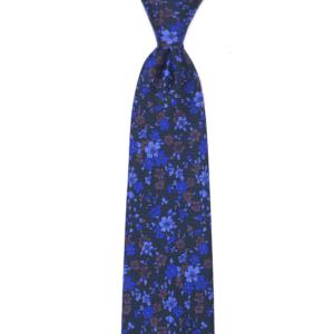 calabrese 1924 cravatta verde scuro fantasia fiori ordine sparso marrone blue scuro e chiaro grandi e piccoli