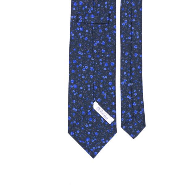 calabrese 1924 cravatta verde scuro fantasia fiori ordine sparso blue scuro blue chiaro dettagli marrone piccoli