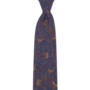 calabrese 1924 cravatta blue fantasia decorazione oro rosso verde con pavoni