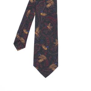 calabrese 1924 cravatta fantasia decorazione rosso verde scuro con papere