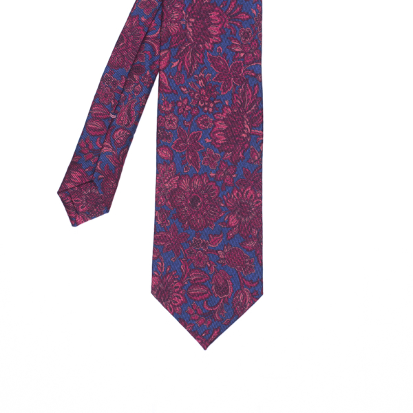 calabrese 1924 cravatta blue fantasia floreale fucsia