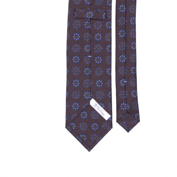 calabrese 1924 cravatta marrone fantasia floreale blue chiaro
