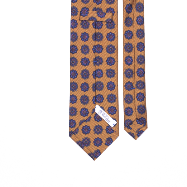 calabrese 1924 cravatta gialla fantasia floreale blue scuro dettagli rosa