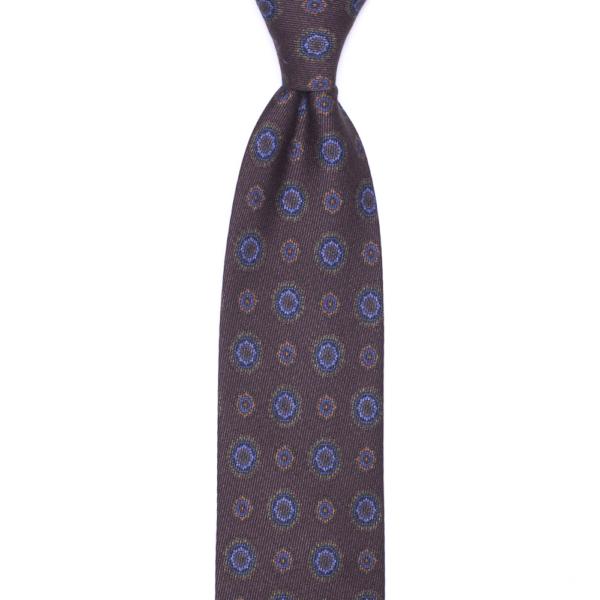 calabrese 1924 cravatta marrone fantasia floreale blue chiaro dettagli arancione verde