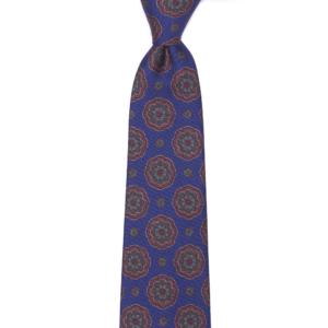 calabrese 1924 cravatta blue fantasia floreale bordò grandi e piccoli dettagli arancione verde