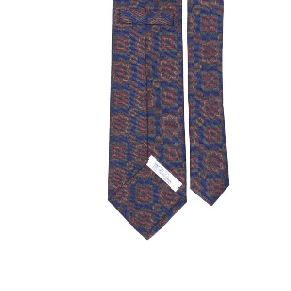 calabrese 1924 cravatta blue fantasia fiori dettagli rosa rossi verdi grandi