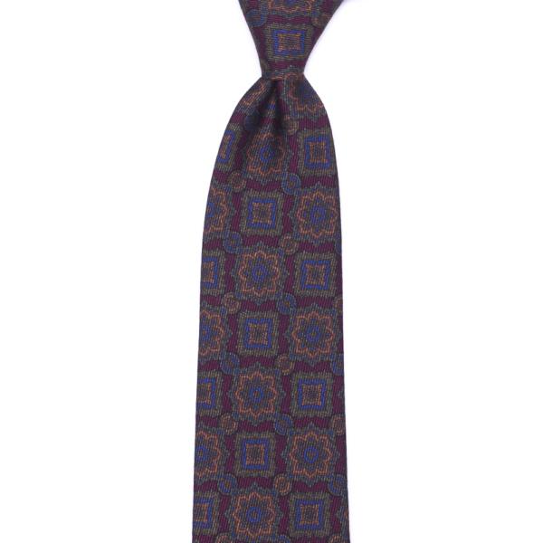 calabrese 1924 cravatta bordò fantasia fiori dettagli arancio blue verdi grandi