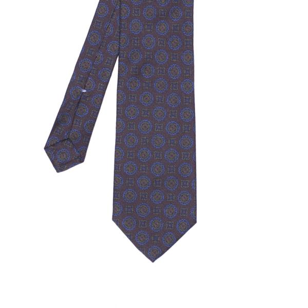 calabrese 1924 cravatta marrone fantasia cerchi quadrati dettagli blue verde scuro arancio medio