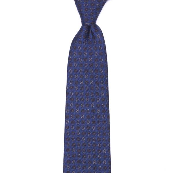 calabrese 1924 cravatta blue fantasia fiori e gocce dettagli arancio bianco piccoli