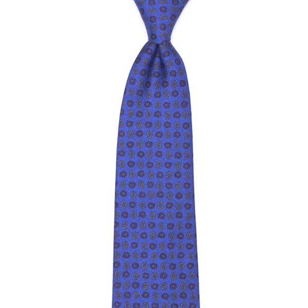 calabrese 1924 cravatta blue chiaro fantasia fiori e gocce dettagli rosso bianco piccoli