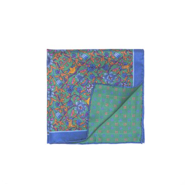 Calabrese 1924 pochette fondo verde contorno blue fantasia floreale