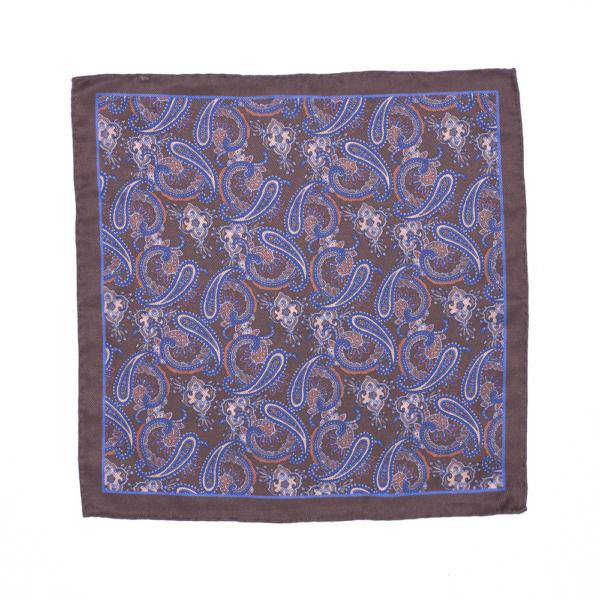 Calabrese 1924 pochette fondo marrone contorno marrone fantasia gocce grandi blue e bianco