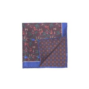 Calabrese 1924 pochette fondo marrone contorno blue fantasia scimmia medio fiori bordò e verdi medio