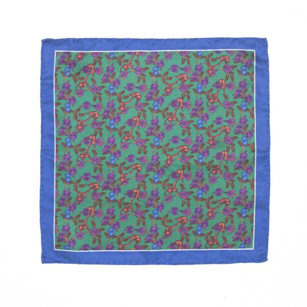 Calabrese 1924 pochette fondo verde contorno blue fantasia scimmia medio fiori arancio e viola medio