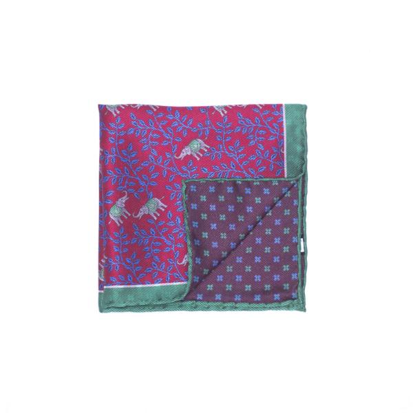 Calabrese 1924 pochette fondo rosso contorno verde acqua fantasia elefanti piccoli fiori blue medio