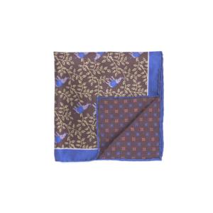 Calabrese 1924 pochette fondo marrone contorno blue fantasia elefanti piccoli fiori giallo chiaro medio