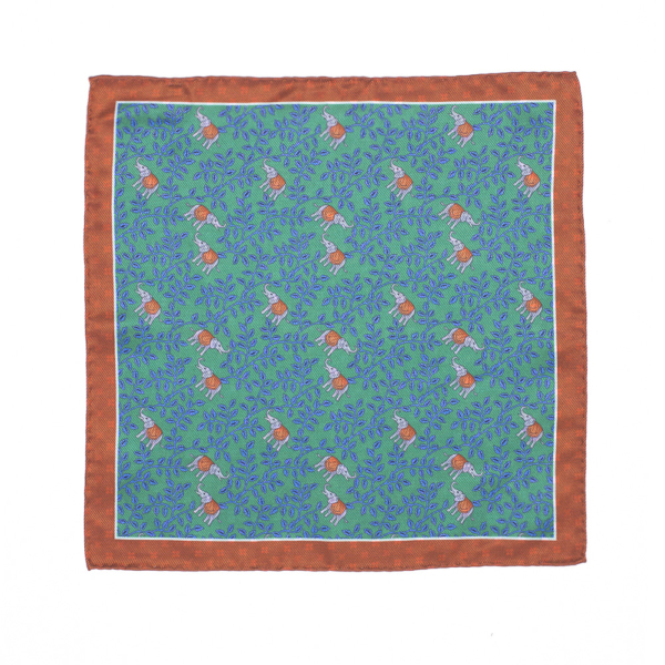 Calabrese 1924 pochette fondo verde acqua contorno arancio fantasia elefanti dettaglio arancione piccoli fiori blue medio