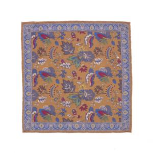 Calabrese 1924 pochette fondo arancione contorno blue con decorazioni fantasia floreale medio