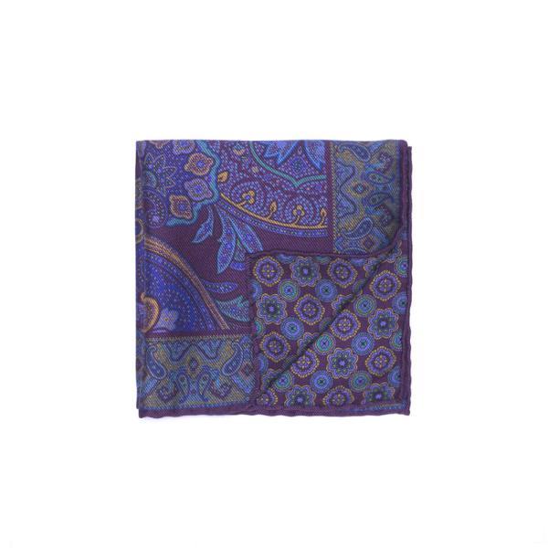Calabrese 1924 pochette fondo e contorno decorazioni con fantasia floreale colore bordò blue scuro blue chiaro dettagli oro medio