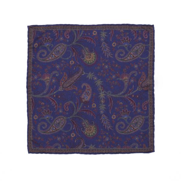Calabrese 1924 pochette fondo blue scuro contorno dettagli oro decorazione floreale e gocce