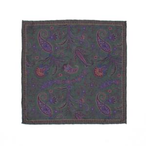 Calabrese 1924 pochette fondo verde scuro contorno dettagli oro decorazione floreale e gocce