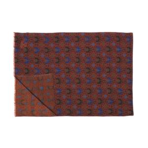 Calabrese 1924 Sciarpa in lana con fondo arancio mattone motivo medaglioni royal e verde