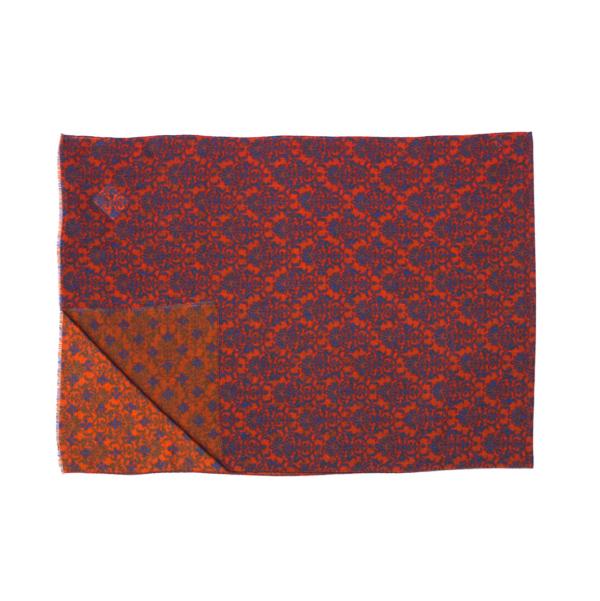 Calabrese 1924 Sciarpa in lana con fondo arancio motivo royal