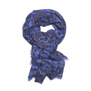 Calabrese 1924 Sciarpa in lana con fondo azzurro motivo paisley beige e blu