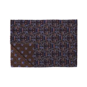 Calabrese 1924 Sciarpa in lana con fondo marrone motivo floreale blu e azzurro