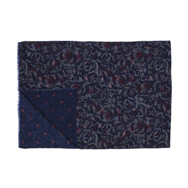 Calabrese 1924 Sciarpa in lana con fondo blu motivo ramage bordeaux e verde