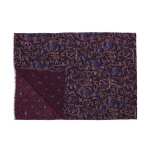 Calabrese 1924 Sciarpa in lana con fondo bordeaux motivo ramage royal e beige