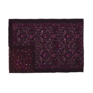 Calabrese 1924 Sciarpa in lana con fondo viola scuro fantasia floreale