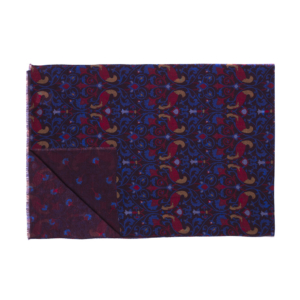 Calabrese 1924 Sciarpa in lana con fondo bordeaux motivo ramage medievale royal rosso e giallo