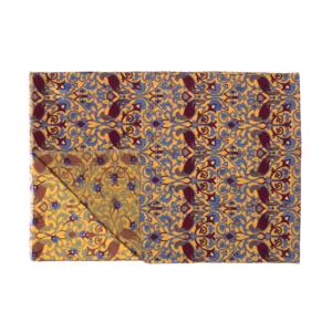 Calabrese 1924 Sciarpa in lana con fondo giallo motivo ramage medievale bordeaux royal e grigio