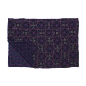 Calabrese 1924 Sciarpa in lana con fondo blu motivo medaglione rosso royal e verde