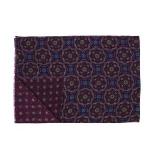 Calabrese 1924 Sciarpa in lana con fondo bordeaux motivo medaglione royal e giallo