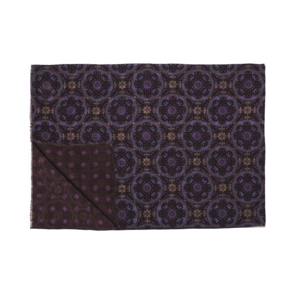 Calabrese 1924 Sciarpa in lana con fondo marrone motivo medaglione royal e bordeaux