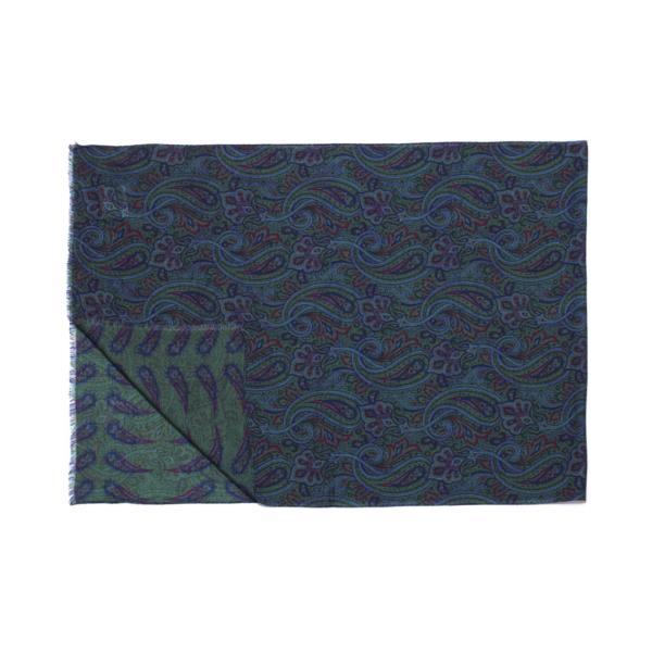 Calabrese 1924 Sciarpa in lana con fondo verde motivo ramage e paisley blu bordeaux e royal