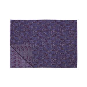 Calabrese 1924 Sciarpa in lana con fondo grigio motivo ramage e paisley royal e bordeaux